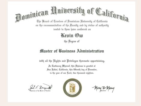 多明尼克大学MBA学位证是什么样子的?